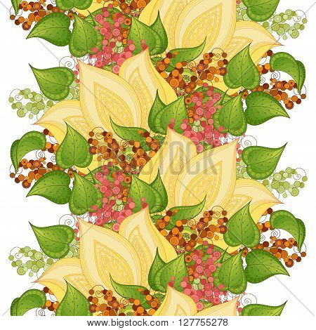 Vector Seamless Floral Pattern. Hand Drawn Texture with Flowers Paisley Garden Style
