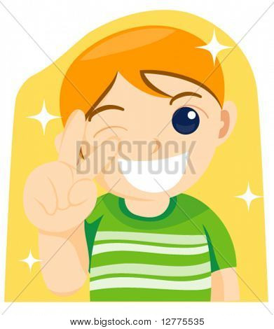 A Young Boy Posing - Vector