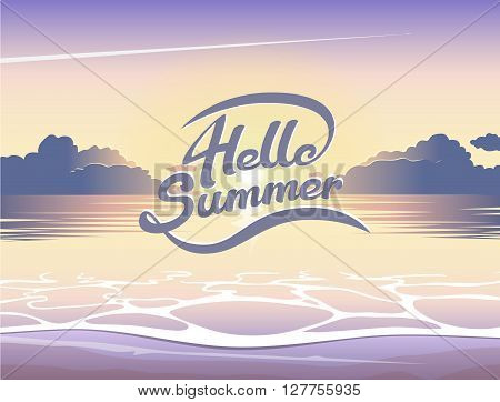 Vector summer illustration of beach and sea at sunrise lettering emblem on summer background seaside view poster