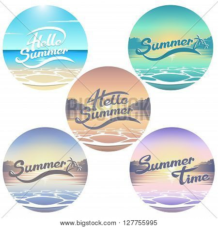 Summer seaside view emblems set summer lettering collection summer beach illustration with sunrise and sunset