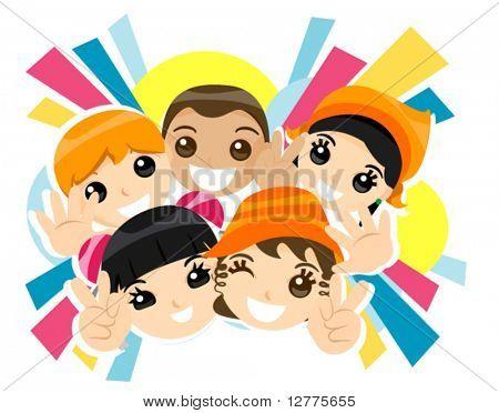 De gelukkige kinderen - Vector