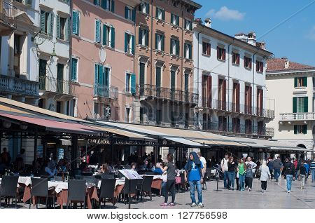 11 april 2016-verona-italy- street view by the square near the Arena in Verona