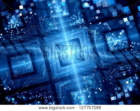 Blue new space technology computer generated abstract background