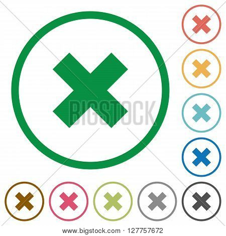 Set of cancel color round outlined flat icons on white background