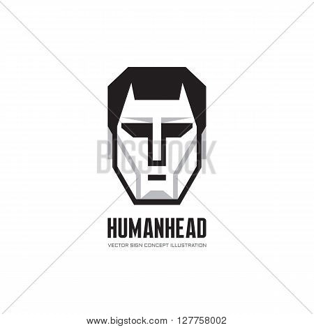 Human character head vector logo concept illustration for business company, website, computer game and other projects. Man face creative illustration in black, white and gray colors. Design element.