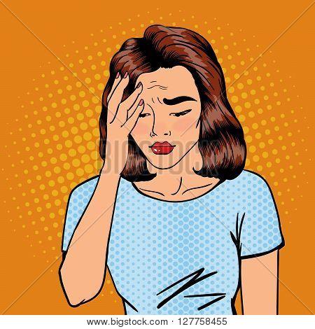 Woman has a Headache.  Pop Art Banner Vector illustration