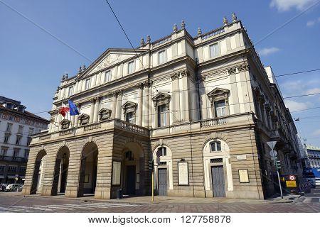 Milano - Italy April 20, 2016 Facade of Alla scala Theatre in Milan