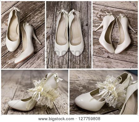 white wedding shoes with a garter on a wooden floor from different angles