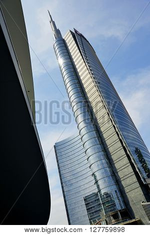 Milano - Italy - April 20, 2016 Modern towers in glass New buildings in Milan