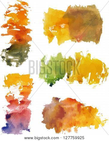 A set of monoprinted colorful watercolor stains on white background; artistic textures for design; scalable vector graphic