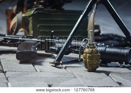 soviet russian weapon: weapon pile on the ground