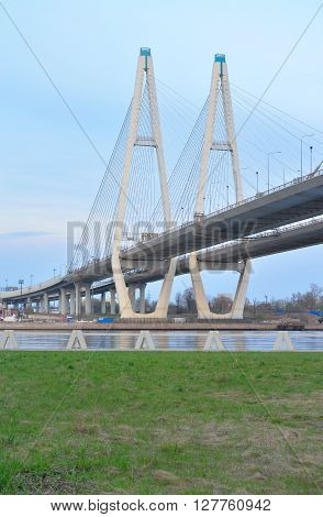 Cable-braced bridge across the river Neva on the outskirts of St. Petersburg Russia.