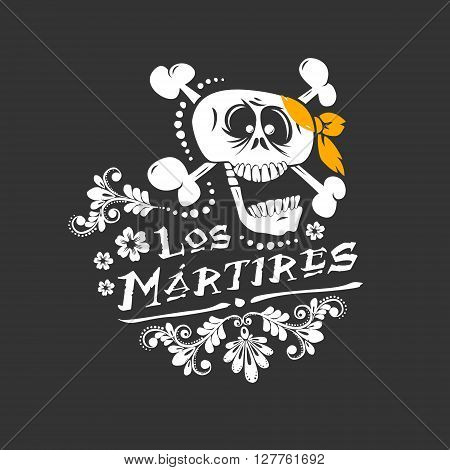 Floral skull funny illustration for day of the dead mexican native holiday
