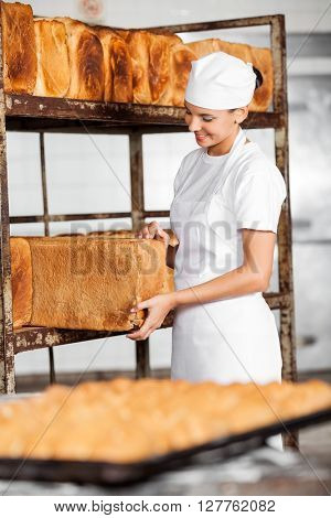 Young Female Baker Removing Bread Loaf From Rack