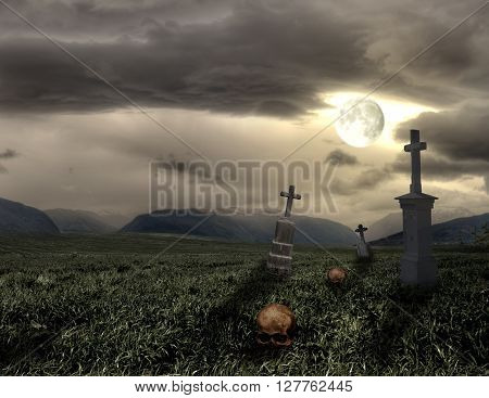 Spooky Halloween graveyard with dark clouds and moon