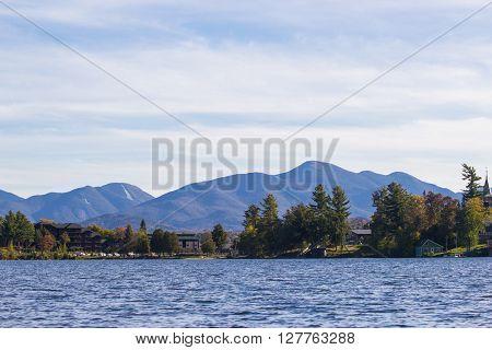 beautiful Mirror lake in Lake Placid, New York.