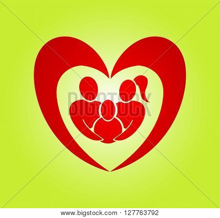 Abstract heart family vector symbol. Insurance, care concept illustration