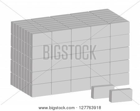Stack of ordinary grey bricks on white background. Vector illustration. Horizontal location.
