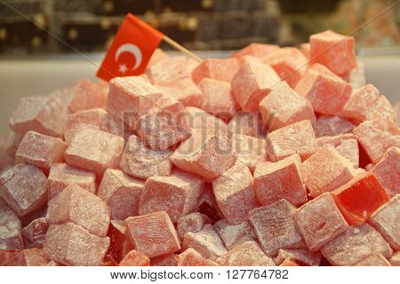 deliicous turkish delight on sale, and turkish flag