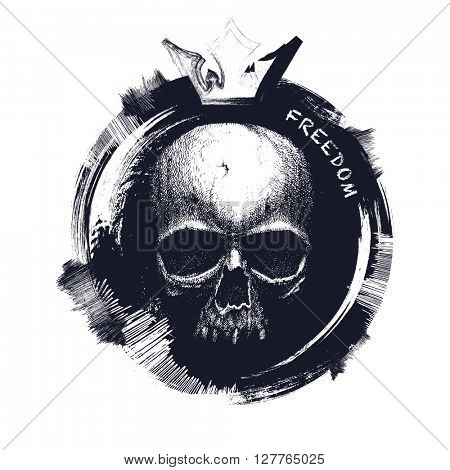 Black and white human skull. Hand drawn. JPEG version