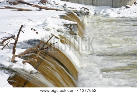 Dam With Ice And Snow