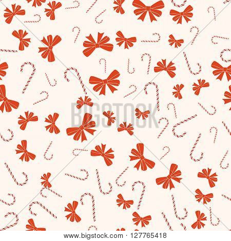 Merry Christmas and Happy New Year seamless retro pattern. With Candy canes and bows ribbons. Vector collection EPS10