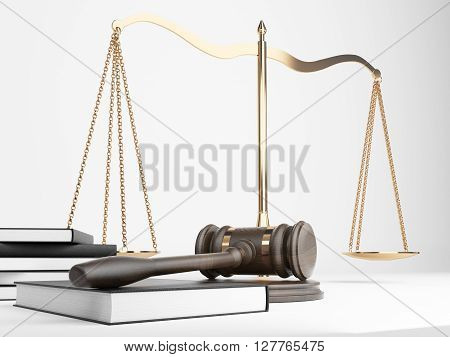 Golden justice scales book and hardwood gavel on light background. 3D Rendering