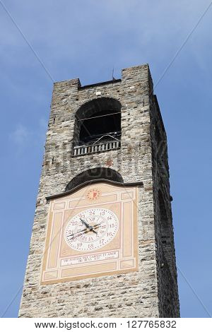 Civic tower at piazza Vecchia in Bergamo, Italy