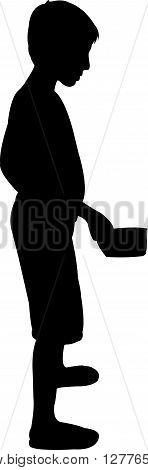 a beggar child body black color silhouette