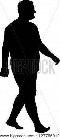 a fat man walking, black color silhouette