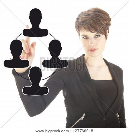 Young businesswoman with black virtual friends isolated on white background