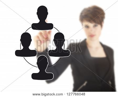 Unsharp young businesswoman with black virtual friends isolated on white background