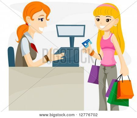 Teenage Shopper using Credit Card - Vector