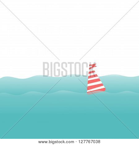 Waves and buoy. Sea or ocean on white background