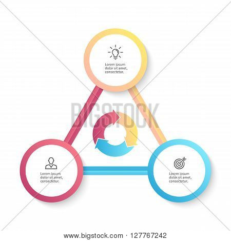 Infographic business template with 3 options, parts. Vector design element.