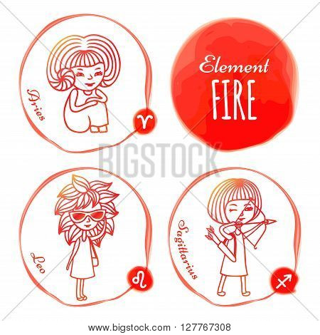 Vector horoscope drawn by hand. Set of 3 zodiac signs of elements of fire: Aries, Leo and Sagittarius. Little girls drawn with a red outline. Imitation of watercolor.