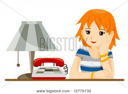 Teen waiting for a phone call - Vector