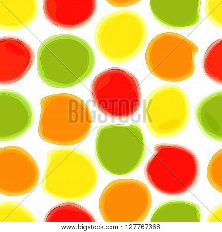 Seamless pattern of colored watercolor stains. The circles drawn in watercolor on white paper. Vector background can be used for printing onto fabric, wrapping paper and Wallpaper.