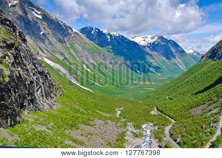 a beautiful mountain valley in Andalsnes Norway ** Note: Visible grain at 100%, best at smaller sizes