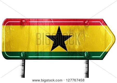 Ghana flag, 3D rendering, vintage road sign isolation