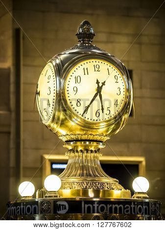 New York, NY - April 24 2016: Station Clock in Grand Central Station, Manhattan, New York, USA