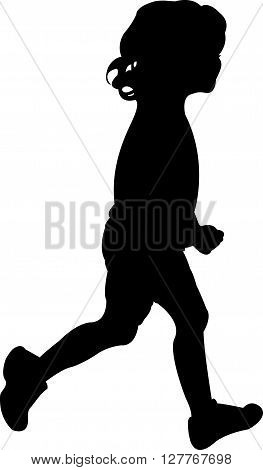 black color vector silhouette of a girl while running