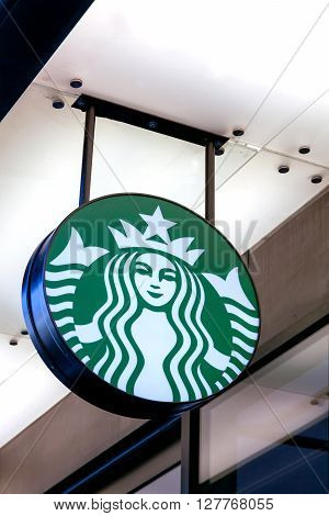 Lyon, France - November 8, 2015: Starbucks is an American coffee company and coffeehouse chain. The chain was founded in Seattle, Washington in 1971 and operates worldwide