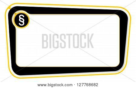 yellow and black Vector box for your text with paragraph symbol