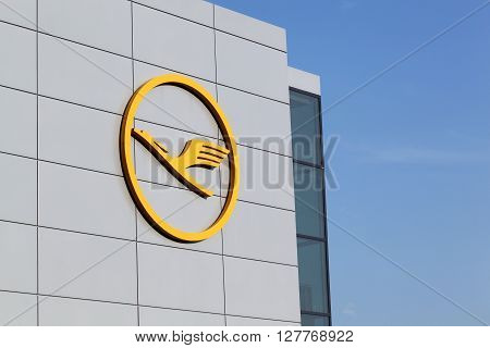 Frankfurt, Germany - March18, 2016: Lufthansa logo on wall at Frankfurt airport.