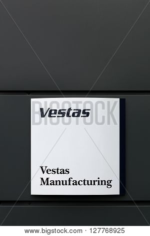 Randers, Denmark - March 13, 2016: Vestas logo in front of an office.