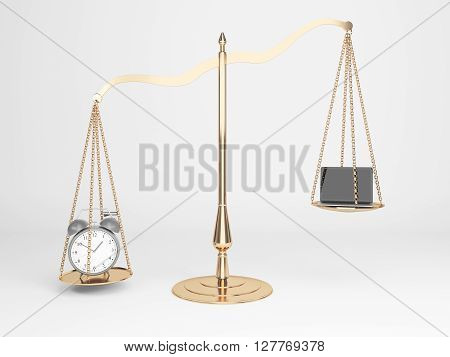 Golden justice scales with alarm clock and laptop on light background. 3D Rendering