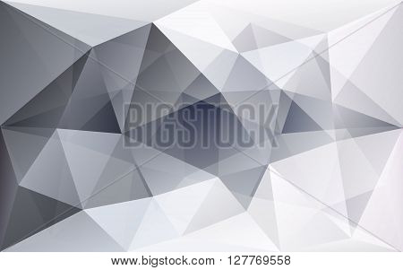 White and grey polygonal geometric background semi-transparent texture in vector