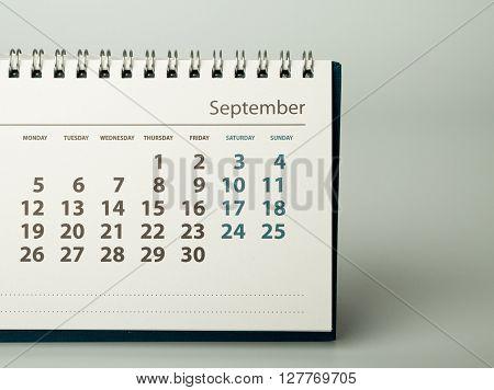 September. Calendar sheet. Calendar of the year two thousand sixteen.