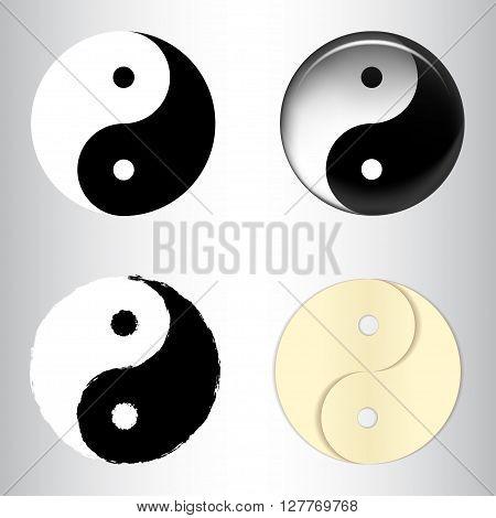 Set of yin yang symbols textured, in vector
